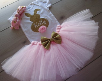 Personalized Baby Girls EASTER Outfit/ Easter Bunny Tutu Outfit/Blush Pink and Gold Theme