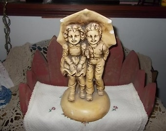 Girl and Boy Statue with Umbrella Sweet,door stop,paper weight,vintage home decor/Not included in coupon discount sale
