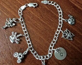 Girl Charm Initial Bracelet- Girls Jewelry- Girls Charm Bracelet- Initial Jewelry- Sterling Silver- Christmas Gift