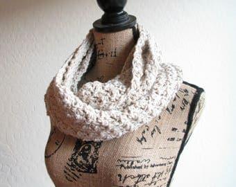 Crochet Infinity Scarf - Cotton Scarf - Knit Scarf - Stonewash Taupe Infinity Scarf - Ready to Ship!
