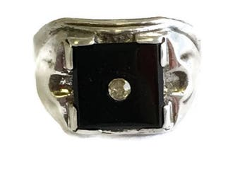 Vintage Clark and Coombs Sterling Silver Onyx Men's Ring Art Deco SZ 8 Rhinestone Center Stone Men's Pinkie Ring