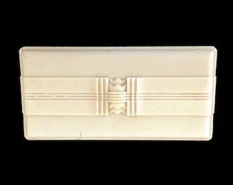 Art Deco Parker Pen Box 220-B Black and Cream White Desk Accessories, Vintage Fountain Pen Box