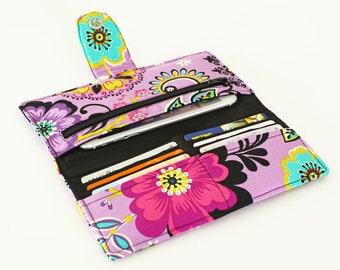 Bifold Wallet Organizer, Handmade Fabric Checkbook Holder, Women's Long Wallet, Phone Travel Case Clutch - Purple lime black floral