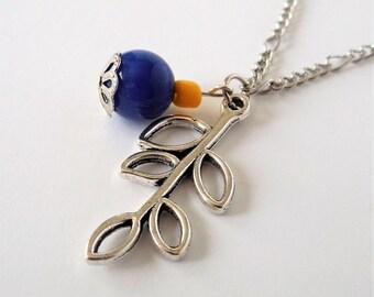 Leaf Necklace, Leaf Charm, Leaf Pendant, Pendant Necklace, Cobalt Blue, Yellow, Simplistic, Minimalist Design,