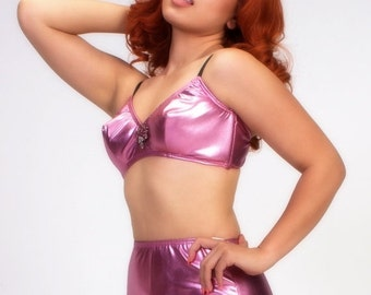 Clearance Pink Liquid Lame' 2 Piece Swimsuit-IN STOCK