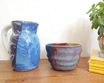 Jewel Tone Glazed Vintage Studio Pottery Pitcher & Bowl Set