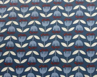 1/2 Yard Organic cotton poplin, Monaluna, Simple Life, Blue Tulip