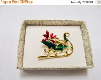 On Sale Vintage Enameled Christmas Sled Pin Item K # 2177