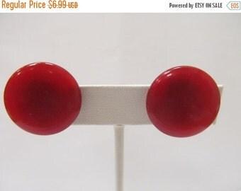 On Sale Vintage Moon Beam Red Plastic Earrings Item K # 1925