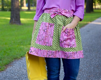 Pink and Green Bird Apron