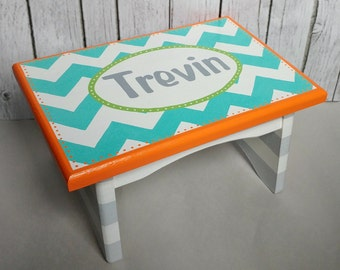 Artisan hand painted custom wooden step stool ~ Orange, aqua, turquoise lime green, grey and white chevron stripes