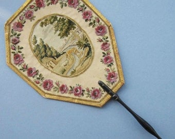 Antique French REGENCY FACE SCREEN Fan -Bead - Embroidered - Aesop's Fable