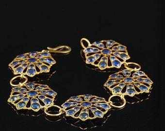 ON SALE Victorian 50.00 Ct untreated Ceylon sapphire rare flower bracelet