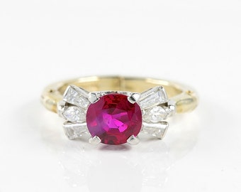 Regal certified 1,62 Ct natural no heat Burma ruby and diamond vintage ring