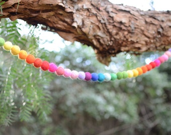 "Felted Wool Ball Garland - Ombre Rainbow in 9 ft (pink, red, orange, yellow, green, blue, purple) 1"" balls HANGERS INCLUDED! Rainbow Nursery"