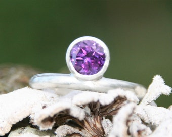 Purple Amethyst Sterling Silver Engagement Ring Stacking Ring