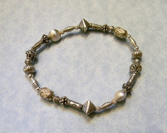 All Silver Bali Style Silver Bead,Hill Tribe Tube and Sterling Stretch Bracelet