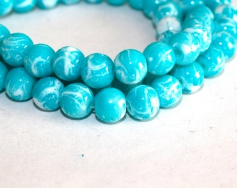 80pc Loose Light Blue and White Beads Bracelet and Necklace Beads