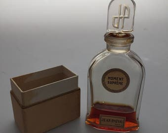 1930s Vintage MOMENT SUPREME Jean Patou Made in France Glass Bottle Ground Stopper Etched Stopper Partial Box French Perfume