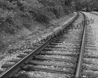 8 x 10 matted photograph black and white train tracks, Ozarks, Missouri