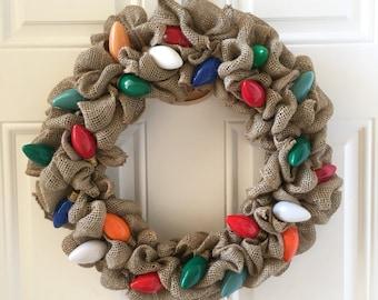 Vintage Christmas Light Wreath - Burlap Wreath - Christmas Wreath - Christmas Lights - Christmas - Wreath -