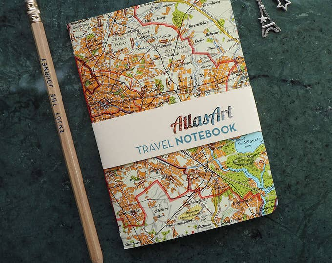NOTEBOOK SMALL Germany, Berlin,  4x5,8 inch, 32p. blank/ruled, journal, diary, map, vintage, upcycling