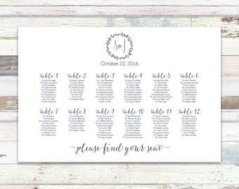Printable Seating Chart / Printable Wedding Seating Chart/ Wedding Seating Chart/ Seating Chart Printable/ Wedding Seating Chart Printable