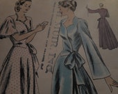 Vintage 1940's Vogue 6140 Negligee or Housecoat Sewing Pattern, Size 12 Bust 30