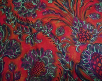Vintage 1950's, 60's Brilliant Colors Stylized Hawaiian-Style Pattern Red Orange Violet Cotton Fabric, 3 yards