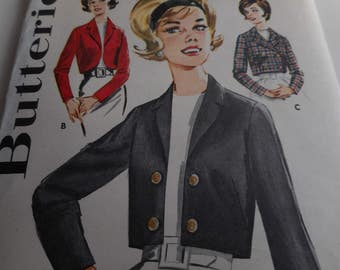 Vintage 1960's Butterick 2439 Jacket Sewing Pattern, Size 12 Bust 32