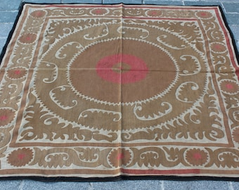 4.72' x 4.99' Suzani Vintage Suzani Old Embroidery Suzani Wall Hanging Uzbek Suzani Table Cover Ethnic Suzani FAST SHIPMENT with ups - 10966