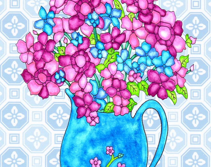 Painting / Art Print / Flower Nature Garden / Unique Artwork Gift /Mother Children  Nursery Baby Shower Girl's Room / Blue Flower Pitcher