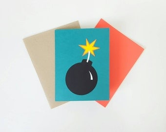 you're the bomb handmade blank greeting card for birthday, anniversary, congratulations, thank you