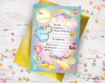 Unicorn Children's Party Invitations