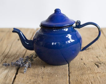 Vintage Blue Enamel Teapot, Shabby Chic Kitchen, Rustic Home Decor, French Country Enamelware, Gift for Tea Lovers
