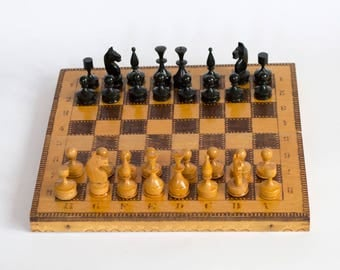 Vintage Chess and Backgammon Game,  Wooden Chess Set, Handmade Chess Game 1960's
