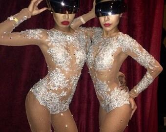Embellished Fishnet Full Bodysuit