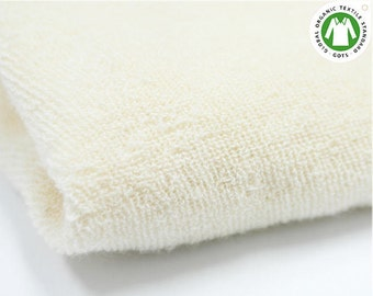Organic Cotton Terry Cloth - Natural Color - Fabric By the Yard V09