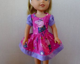 Purple and Pink Peppa Pig  dress and headband American made to fit 14 1/2 inch Wellie Wisher Girl Dolls