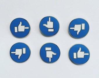 Facebook fb 'Like' Button hard enamel lapel pin