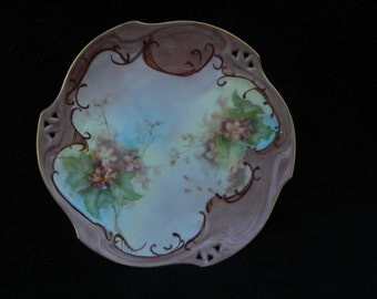 Vintag Plate: Hand painted porcelain
