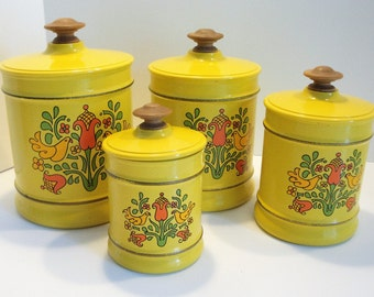Mid Century Modern Canister Set - Retro Yellow Canisters - Pennsylvania Dutch - Retro Tin Canister Set