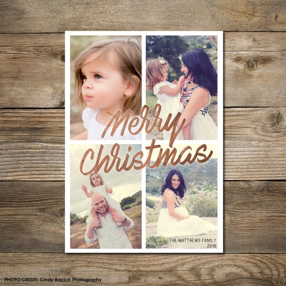 Photo Christmas Card : Faux Gold/Silver/Copper Foil Merry Christmas Photo Holiday Card Printable