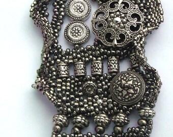 Gunmetal Beadwoven Cuff Bracelet/w Double Toggle Clasp