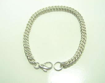 Half Persian 3 in 1 Chain Maille  Sterling Silver Bracelet, Chain Maille Jewelry, Chain Maille Bracelet with Dolphin Clasp