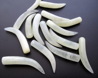 Soft  yellow green Jade  tusk  , Carved stone, Jewelry making supplies B6707