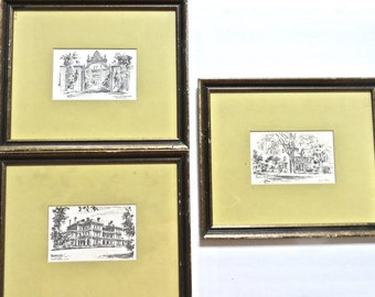 Vintage Set of 3 Lithograph Pencil Drawings Framed by Bobbit's of Omaha USA Traditional Home
