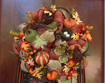 Colorful Fall Mesh Wreath with Bird and Nest