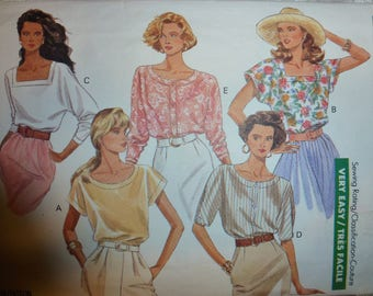 VINTAGE BUTTERICK CLASSICS Pattern 3954 for Misses' Tops in Sizes 12-14-16