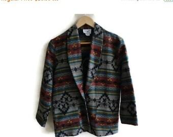 SALE Tribal Print Jacket Blazer Vintage 80s S Small petite